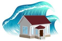 Πλημμύρα σπιτιών Ιδιοκτησία insurance διανυσματική απεικόνιση
