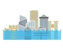 Πλημμύρα στην πόλη Πλημμύρα στην πόλη Σπίτι που πλημμυρίζουν Να ενσωματώσει το wate ελεύθερη απεικόνιση δικαιώματος