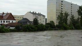 Πλημμύρα στην πόλη Gera της Γερμανίας Thuringia απόθεμα βίντεο