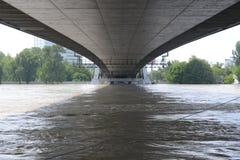 Πλημμύρες Μπρατισλάβα - κάτω από τη γέφυρα SNP στοκ εικόνα με δικαίωμα ελεύθερης χρήσης