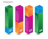 Πληροφορία-γραφικά πρότυπα σχεδίου υπό μορφή τρισδιάστατου κιβωτίου Στοκ εικόνα με δικαίωμα ελεύθερης χρήσης