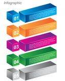 Πληροφορία-γραφικά πρότυπα σχεδίου υπό μορφή τρισδιάστατου κιβωτίου Στοκ Φωτογραφία