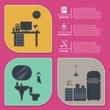 Πληροφορίες γραφικές της εσωτερικής διανυσματικής απεικόνισης σπιτιών ελεύθερη απεικόνιση δικαιώματος