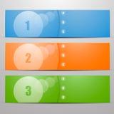 Πληροφορίες γραφικές τριών εμβλημάτων με τα θερμά χρώματα με το κείμενο ή τους αριθμούς Στοκ Εικόνες