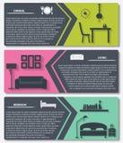 Πληροφορίες γραφικές των εσωτερικών διανυσματικών εμβλημάτων σπιτιών διανυσματική απεικόνιση