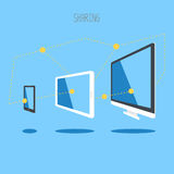 Πληροφορίες συγχρονισμού σύννεφων υπολογιστών γραφείου smartphone ταμπλετών συσκευών ΤΠ Στοκ εικόνα με δικαίωμα ελεύθερης χρήσης