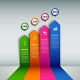 Πληροφορίες χρονικών γραμμών γραφικές με τα χρωματισμένα βέλη για το πρότυπο τοίχων ελεύθερη απεικόνιση δικαιώματος