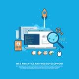 Πληροφορίες analytics Ιστού και επίπεδο υπόβαθρο έννοιας ανάπτυξης ιστοχώρου διανυσματική απεικόνιση