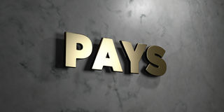 Πληρώνει - χρυσό σημάδι που τοποθετείται στο στιλπνό μαρμάρινο τοίχο - στο τρισδιάστατο δικαίωμα την ελεύθερη απεικόνιση αποθεμάτ διανυσματική απεικόνιση