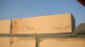 Πλινθοκτίστης που βάζει τα τούβλα για να κάνει έναν τοίχο 6 φιλμ μικρού μήκους