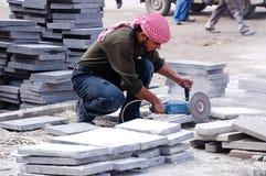 Πλινθοκτίστης που εργάζεται στο μάρμαρο στην πόλη Aleppo Στοκ φωτογραφίες με δικαίωμα ελεύθερης χρήσης
