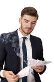 Πλούσια επιτυχή καίγοντας χρήματα επιχειρηματιών Στοκ φωτογραφία με δικαίωμα ελεύθερης χρήσης
