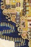 πλούσια ζωηρόχρωμη κεντητική εργασίας χαντρών Στοκ Φωτογραφία