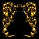 Πλούσιες χρυσές διανυσματικές μπαρόκ σγουρές διακοσμητικές γωνίες για το σχέδιο και διακόσμηση στο μαύρο υπόβαθρο Στοκ εικόνα με δικαίωμα ελεύθερης χρήσης