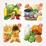 Πλούσιοι προϊόντων με τις βιταμίνες διανυσματική απεικόνιση