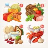 Πλούσιοι προϊόντων με τις βιταμίνες απεικόνιση αποθεμάτων