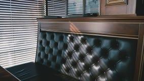 Πλούσιος καφετής καναπές δέρματος απόθεμα βίντεο
