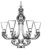 Πλούσιος μπαρόκ κλασικός πολυέλαιος Βοηθητικό σχέδιο ντεκόρ πολυτέλειας Διανυσματικό σκίτσο απεικόνισης διανυσματική απεικόνιση