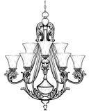 Πλούσιος μπαρόκ κλασικός πολυέλαιος Βοηθητικό σχέδιο ντεκόρ πολυτέλειας Διανυσματικό σκίτσο απεικόνισης απεικόνιση αποθεμάτων