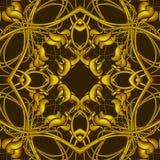 Πλούσιο χρυσό σχέδιο φαντασίας με τα φανταστικά στοιχεία φυλλώματος για Στοκ Φωτογραφία