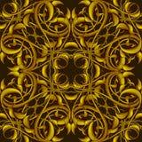 Πλούσιο χρυσό σχέδιο φαντασίας με τα φανταστικά στοιχεία φυλλώματος για Στοκ Εικόνα
