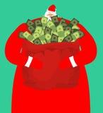 Πλούσιο santa και κόκκινη τσάντα με τα χρήματα Σάκος Claus των μετρητών ακριβός απεικόνιση αποθεμάτων