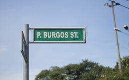 Π Σημάδι οδών του Burgos Στοκ εικόνα με δικαίωμα ελεύθερης χρήσης
