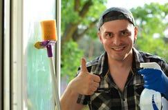 Πλυντήριο παραθύρων Επαγγελματική καθαρίζοντας επιχείρηση Στοκ Εικόνα