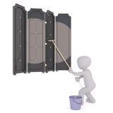 Πλυντήριο παραθύρων κινούμενων σχεδίων που καθαρίζει τα μεγάλα παράθυρα διανυσματική απεικόνιση