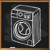 Πλυντήριο στον πίνακα κιμωλίας Στοκ Φωτογραφία