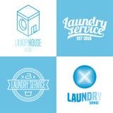 Πλυντήριο, σύνολο υπηρεσιών πλυσίματος του διανυσματικού λογότυπου, εικονίδιο, σύμβολο, έμβλημα Στοκ Εικόνα