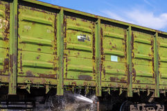 πλύση των βαγονιών εμπορευμάτων φορτίου Στοκ Εικόνα