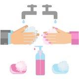 Πλύση χεριών με το σαπούνι διανυσματική απεικόνιση