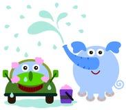 Πλύσιμο αυτοκινήτων ελεφάντων Στοκ εικόνα με δικαίωμα ελεύθερης χρήσης