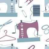Ράβοντας άνευ ραφής σχέδιο: ράβοντας μηχανή, ψαλίδι, νήμα απεικόνιση αποθεμάτων