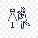 Ράβοντας το διανυσματικό εικονίδιο γυναικών που απομονώνεται στο διαφανές υπόβαθρο, lin διανυσματική απεικόνιση