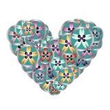 Ράβοντας το floral σχέδιο καρδιών κουμπιών για το ράψιμο της επιχείρησης Στοκ Εικόνες