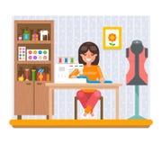 Ράβοντας χόμπι εργασίας στο σπίτι διανυσματική απεικόνιση σχεδίου τεχνών επίπεδη ελεύθερη απεικόνιση δικαιώματος