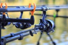 Ράβδοι αλιείας κυπρίνων με την οργάνωση εξελίκτρων στον κάτοχο Στοκ Φωτογραφία