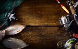 Ράβδος αθλητικής αλιείας τέχνης και υπόβαθρο εξοπλισμών στοκ φωτογραφία με δικαίωμα ελεύθερης χρήσης