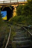 Ράγες σιδηροδρόμων που πηγαίνουν κάτω από τη γέφυρα Στοκ Εικόνες