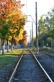 ράγες τραίνων το φθινόπωρο στοκ φωτογραφία