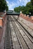Ράγες Funicular Hill της Βουδαπέστης Castle Στοκ εικόνα με δικαίωμα ελεύθερης χρήσης