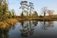 Ράγκμπι Warwickshire βασιλιάδων αντανακλάσεων νερού newnham στοκ εικόνα