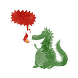 δράκος αναπνοής πυρκαγιάς κινούμενων σχεδίων με τη λεκτική φυσαλίδα Στοκ Φωτογραφίες