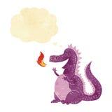 δράκος αναπνοής πυρκαγιάς κινούμενων σχεδίων με τη σκεπτόμενη φυσαλίδα Στοκ Εικόνες