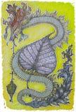 δράκος που επισύρεται την προσοχή με τα μολύβια χρώματος σε χαρτί Στοκ φωτογραφίες με δικαίωμα ελεύθερης χρήσης