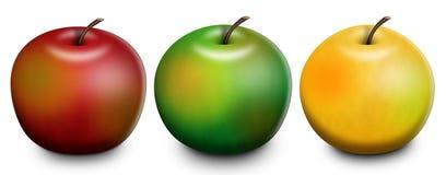 ράστερ απεικόνισης 3 μήλων Στοκ Φωτογραφίες