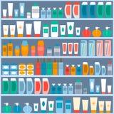 Ράφια για να αποθηκεύσει τα καλλυντικά, την υγιεινή και την προσωπική φροντίδα απεικόνιση αποθεμάτων