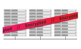 Ράφια κεντρικών υπολογιστών Κόκκινο μήνυμα κορδελλών που κρυπτογραφείται Ιός Erebus Διανυσματική απεικόνιση